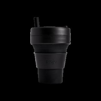 Stojo drinkbeker biggie 470ml zwart: lekvrij, opvouwbaar en herbruikbaar