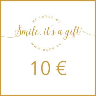 Cadeaubon 10€ zodat de ontvanger zelf items kan kiezen uit de webshop