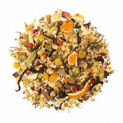 Biologische yogi relax thee met kaneel, zoethout en sint-Janskruid.