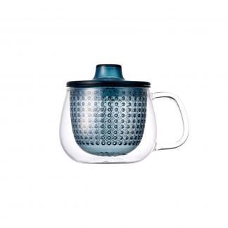Kinto unimug theetas met blauwe filter 350ml en deksel voor losse thee