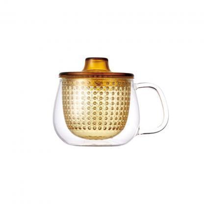 Kinto unimug theetas met gele filter 350ml en deksel voor losse thee