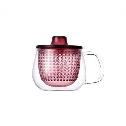 Kinto unimug theetas met wijnrode filter 350ml en deksel voor losse thee