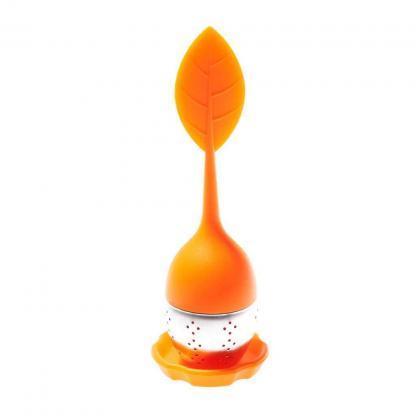 Oranje theeblad infuser, ideaal om een kop losse thee te zetten