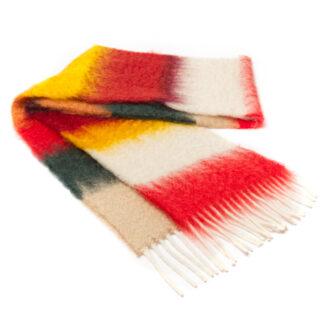 Mohair Sjaal Matisse HM-21 met kleur beige, flesgroen, rood & honinggeel