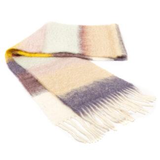 Mohair Sjaal Matisse Pastel met kleur violet, honinggeel, blauw & camel