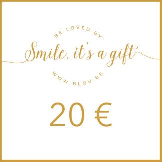 Cadeaubon 20€ zodat de ontvanger zelf items kan kiezen uit de webshop