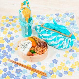 Furoshiki Kersenbloesem Blauw/Geel S