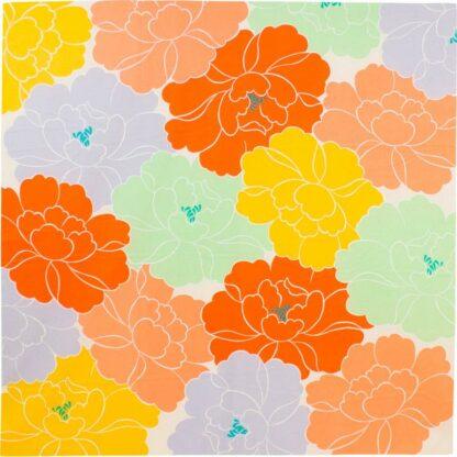 BLØV blov.be Furoshiki Peony Oranje XL - 100x100cm voor groter geschenk of draagtas