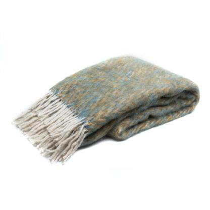 Mohair Plaid Keops Blauw/Bruin,thermoregulerend deken met Ecotex label