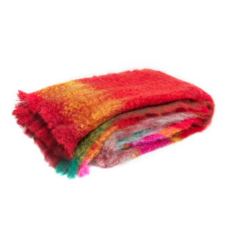 BLØV blov.be Mohair Plaid Rozco Rood, thermoregulerend deken met Ecotex label