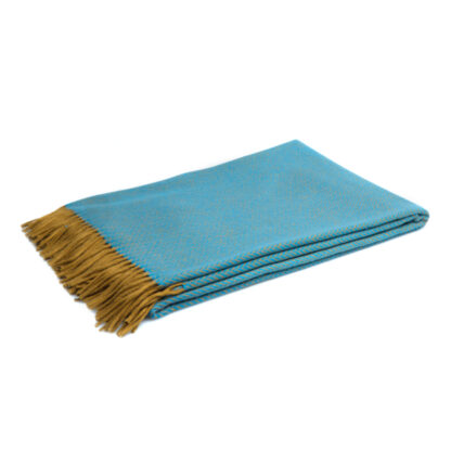 BLØV blov.be Merino Wol Plaid Visgraat Turkooisblauw M, finesse deken & Ecotex label