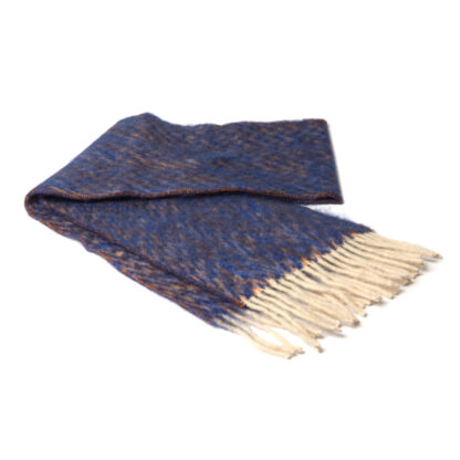 Mohair Sjaal Keops Diepblauw met visgraatmotief en Ecotex label