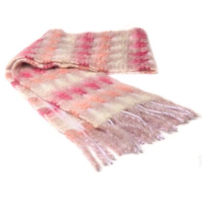 Mohair Sjaal Mia Koraal met extra fijne merino wol en Ecotex label