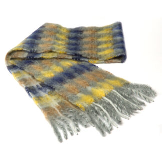Mohair Sjaal Mia GeelGrijs met extra fijne merino wol en Ecotex label