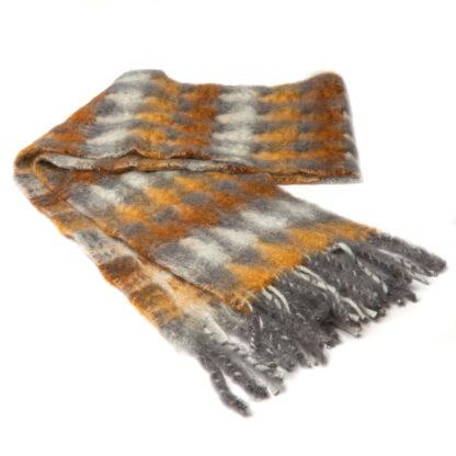 Mohair Sjaal Mia BruinGrijs met extra fijne merino wol en Ecotex label