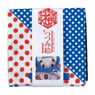 Furoshiki Okame&Hyottoko Blauw S - 48x48cm voor kleine geschenkjes