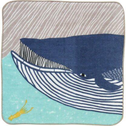 BLØV blov.be Fluffy Handdoekje Walvis Blauw 25x25cm zacht en licht