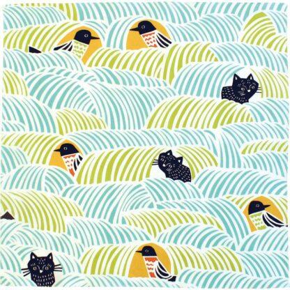 Furoshiki Kat & Vogel Blauw S