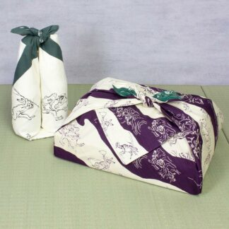 Furoshiki Dubbelzijdig Dierenprint Roodbruin/Groen XL