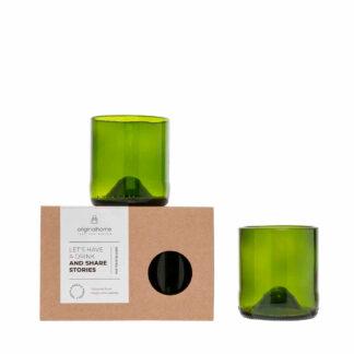 Glazen Upcycled Groen S (set van 2)