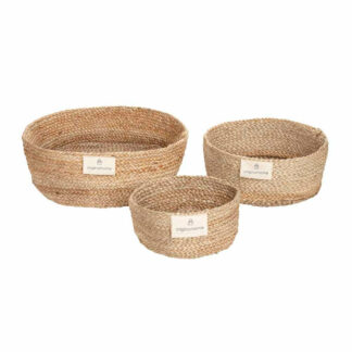 Mand Laag Naturel Jute S, ethisch handgemaakt voor brood of plant