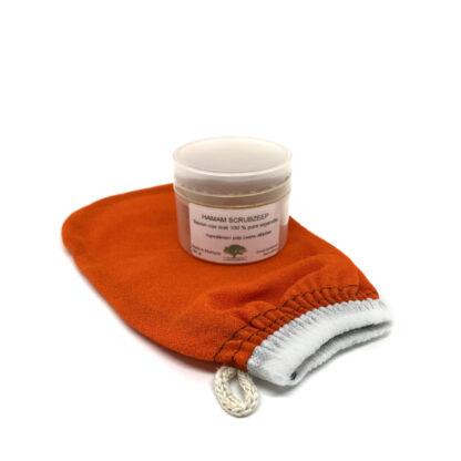 Set Scrubhandschoen Oranje Hammam Zeep